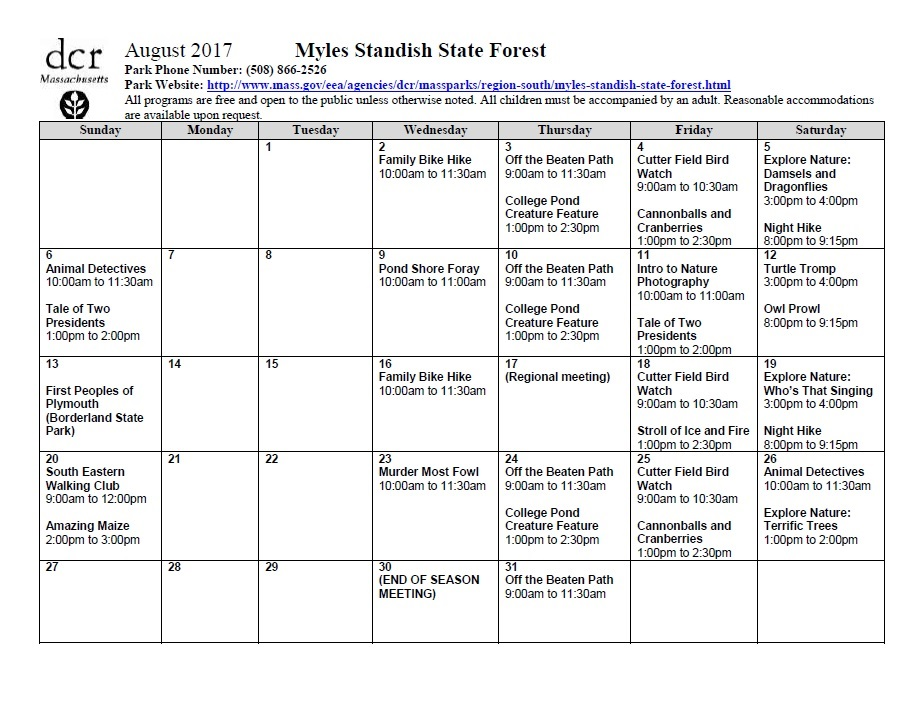 August events Myles Standish State Forest